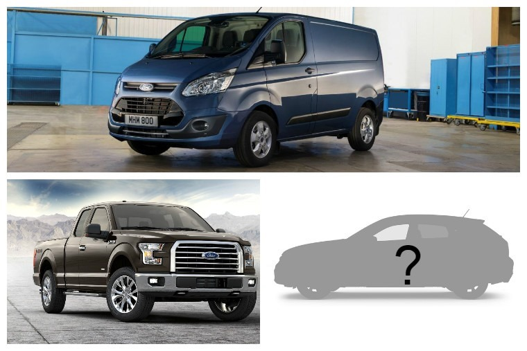 Ford Transit (top), electric SUV (right), Ford F-150 pick-up truck (left)