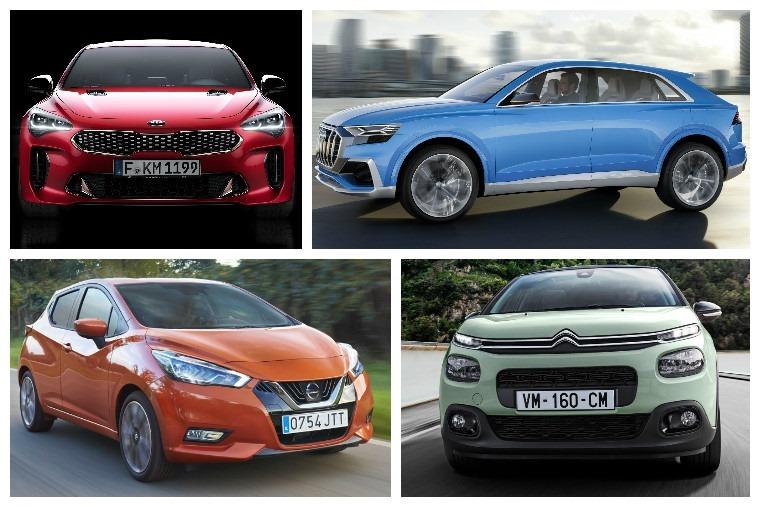 From upper left clockwise: Kia Stinger GT, Audi Q8, Citroen C3 and Nissan Micra.