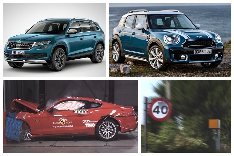 Upper left clockwise: New Skoda Kodiaq Scout, Mini Countryman, Speed Camera, Ford Mustang crash test.