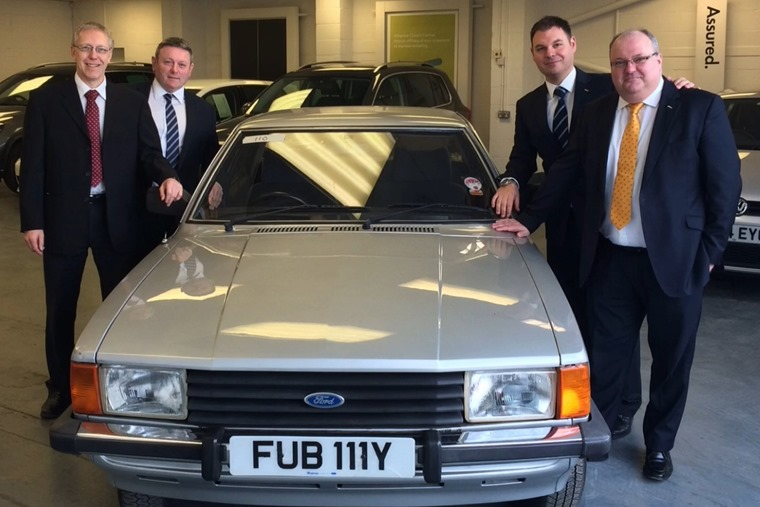 (L-R) Neil Widdowson, Garry Gilmore, Tony Dent and Neill Richards of JCT600's fleet division with their Ford Cortina