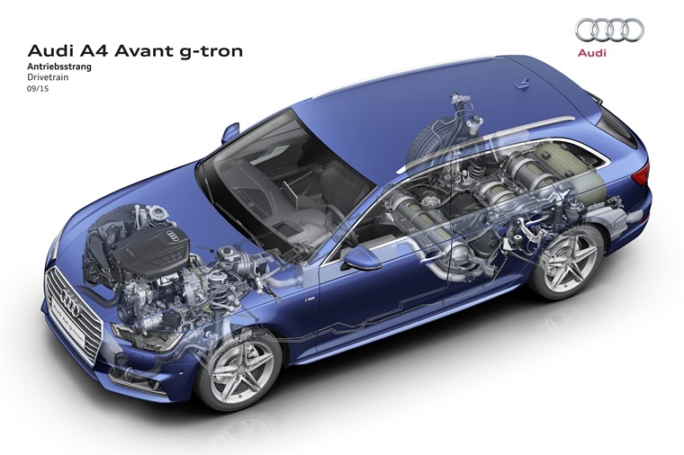 Audi A4 Avant g-tron cutaway shows the extra fuel tank in under the boot.