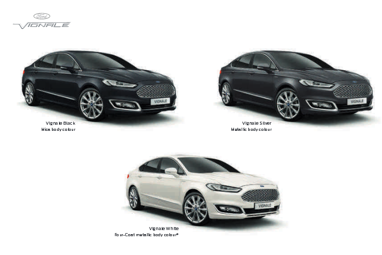 An extract from the Mondeo Vignale's brochure, which is available in a number or Vignale-only colours.