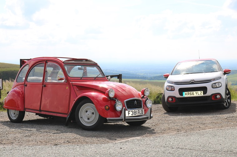 Citroen C3 and Citroen 2CV lead