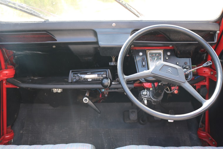 The 2CV's spartan interior.
