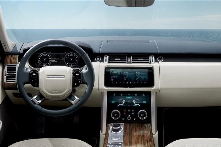 The interior gets several of the new Velar's features, notably a 10in infotainment system.