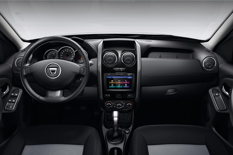 The interior is basic, but you can spec an infotainment system and even leather upholstery.