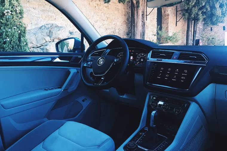 The interior is essentially the same as the standard Tiguan.