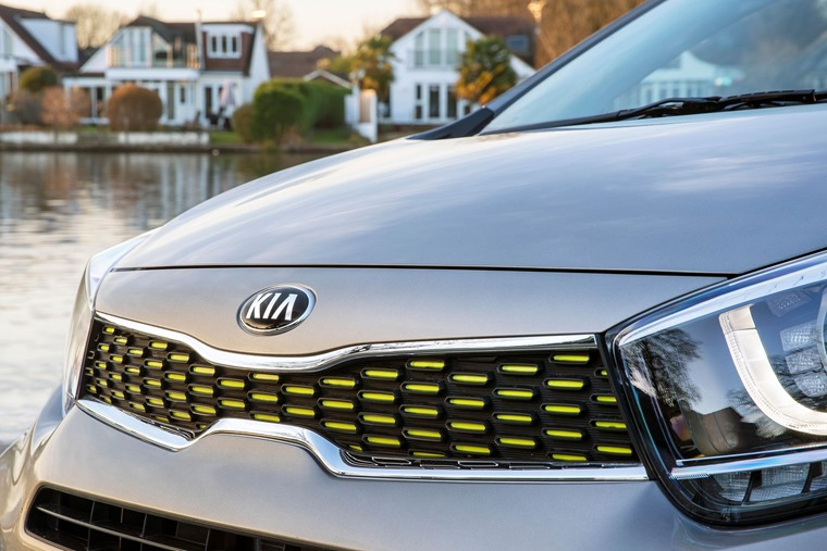 Kia Picanto X-Line lime front grille detail
