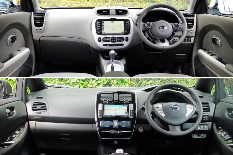 Kia Soul Nissan Leaf Interiors