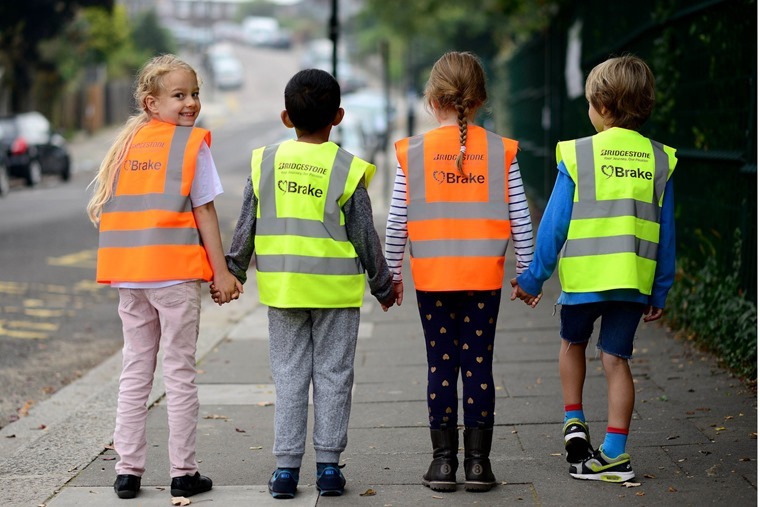 Bridgestone and Brake road safety at Rokesly Infant School in London. From left is Year 2 pupils Eloise Ocean, Yaqub Osib, Mia Skovsende and Samuel Bond.