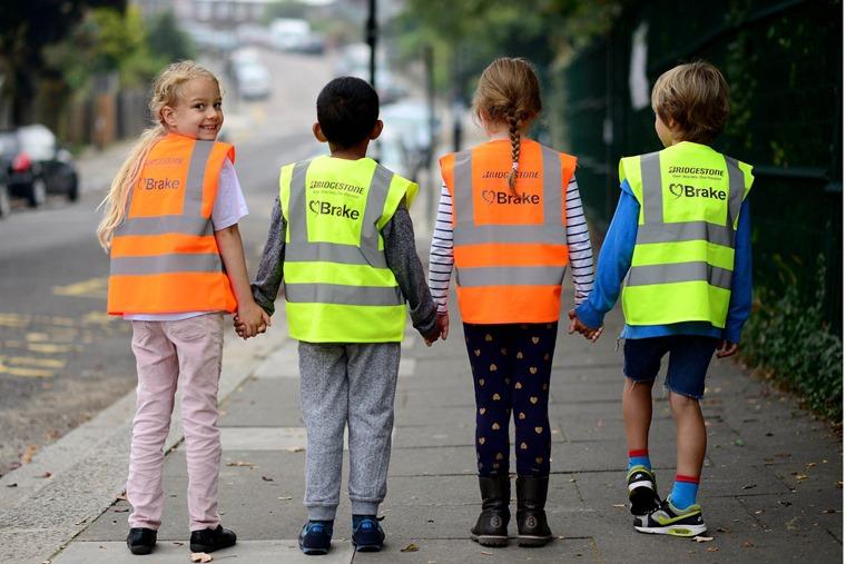 Bridgestone and Brake road safety at Rokesly Infant School in London. From left is Year 2 pupils Eloise Ocean, Yaqub Osib, Mia Skovsende and Samuel Bond.