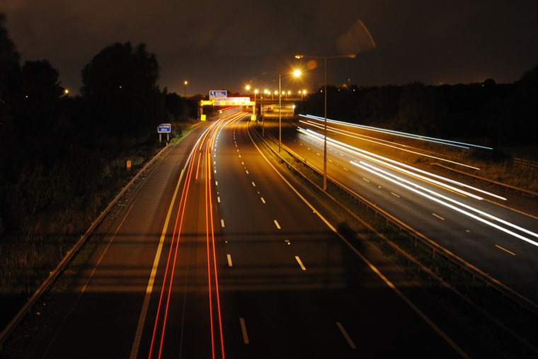 M6 at night, flickr user Gareth Brooks