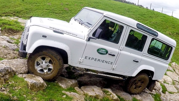 Land Rover Defender rock climb