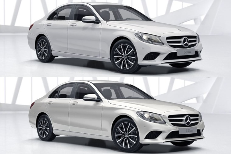 Mercedes C-Class white (polar standard above, diamond below)