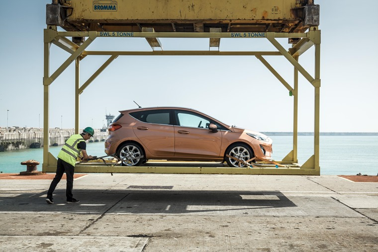 The first new Fiesta to be unloaded