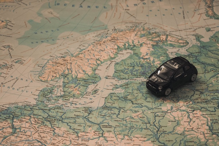 Model car European map