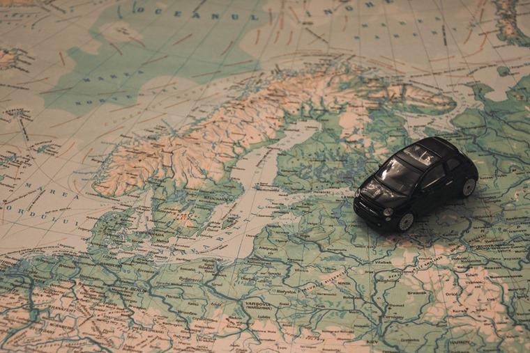 Model car European map