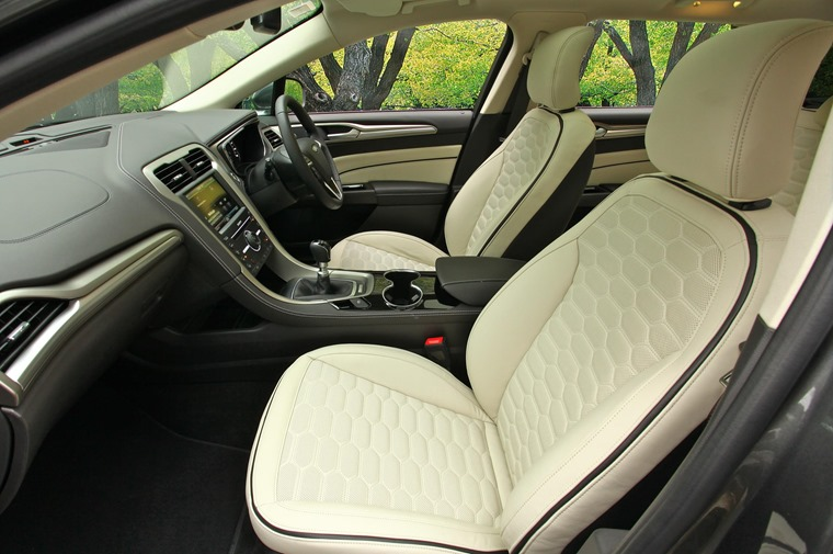 Diamond-stiched leather upholstery is standard across the Vignale range.