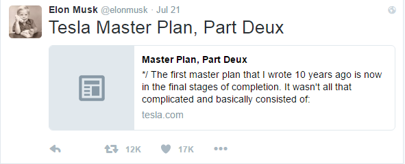 Elon Musk launched his Master Plan, Part Deux, on Tesla's blog