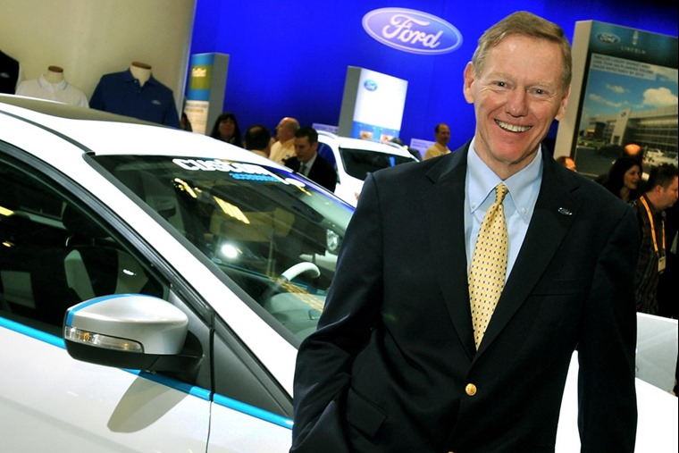 Outgoing Mark Fields had a lot to live up to, following Alan Mulally's act (pictured).