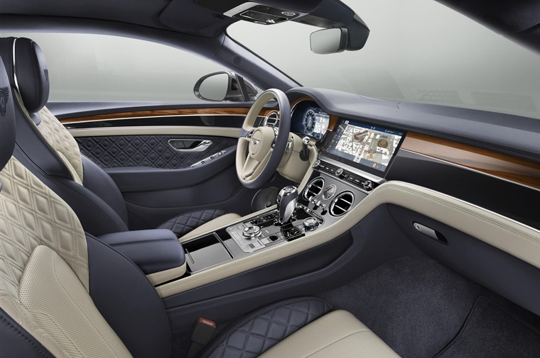 A rotating 12.3in infotainment system is the focal point of the beautifully appointed cabin.