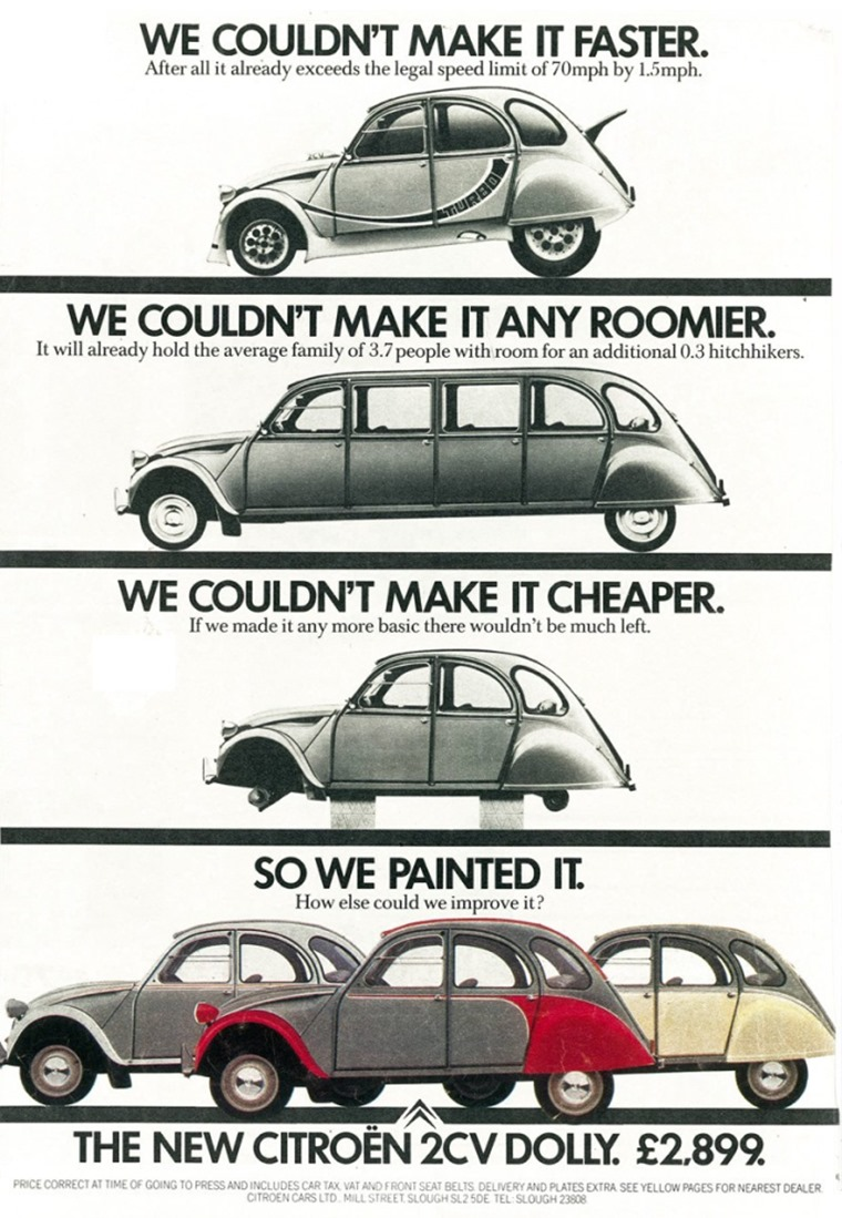 Lasting until 1990, Citroen got inventive with its marketing when it came to the 2CV.