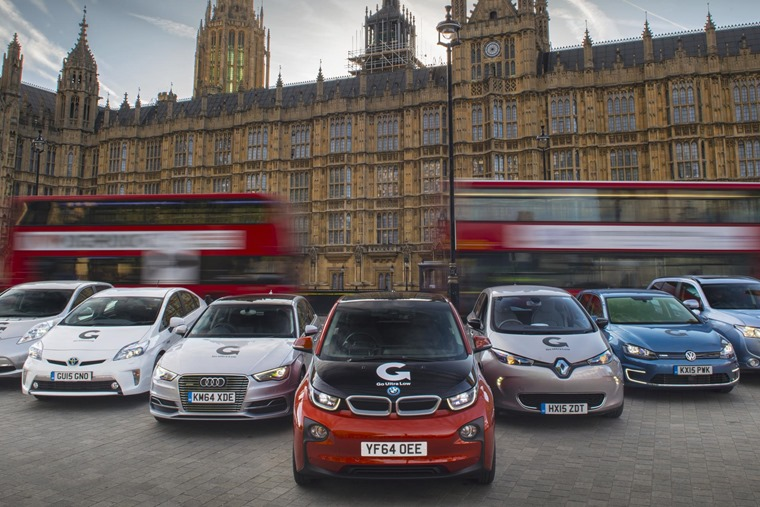 Plug-in cars outside parliament