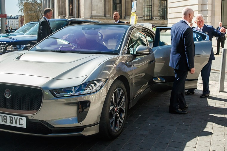 Prince Charles with an I-Pace in April - his is in custom Loire Blue paint