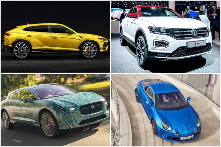 Top left anti-clockwise: Lamborghini Urus, Volkswagen T-Roc, Alpine A110, Jaguar I-PACE.
