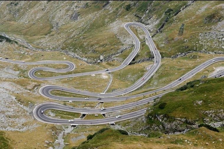 The famous Transfagarasan mountain road in Romania