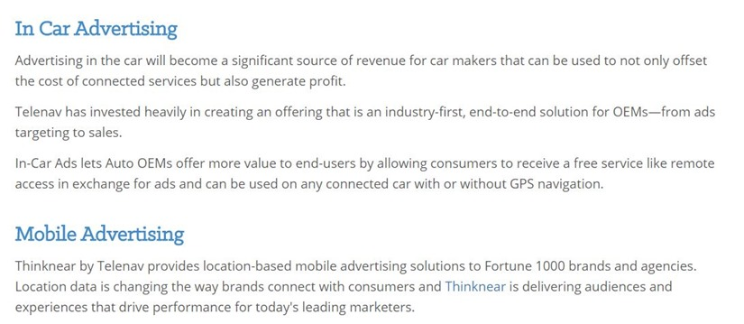 Telenav is the company behind in-car ads, and believes it will become a 'significant source of revenue' for car makers.