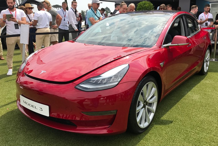 Tesla Model 3 at Goodwood Festival of Speed front