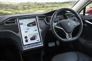 Tesla Model S interior with view