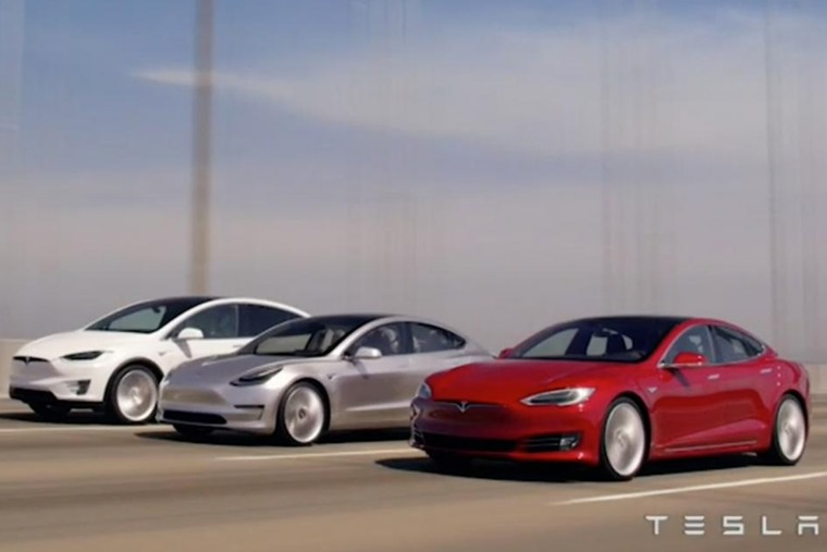 The Model 3 (centre) is the third car to join Tesla's current range.