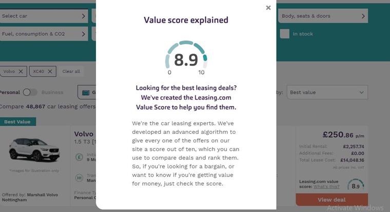 Value score leasing