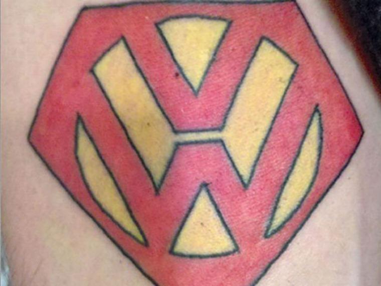 Volkswagen Superman tattoo fail