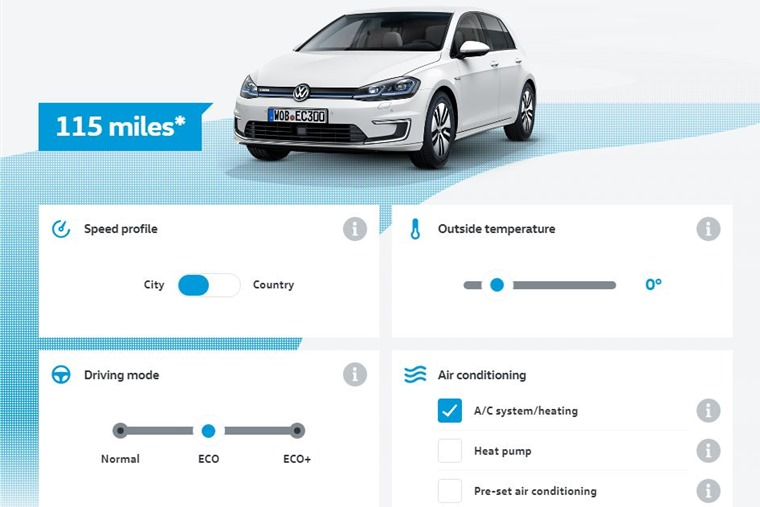 Volkswagen e-Golf range calculator is available on VW's website.